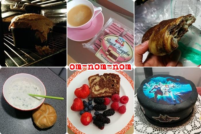 selbstgebackenes Brot | Lilienporzellan Punschkrapfen | Marmor Croissant | Tsatsiki | Beeren Marmorkuchen | Star Wars Geburtstags Torte