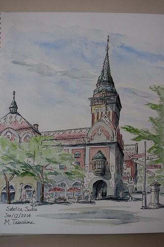 市庁舎スケッチ