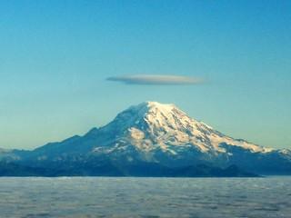 Lenticular(?) cloud over Mt. Rainier