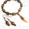 Dragon vein agate and tiger eye gemstone bracelet & earrings set- tigrisszem és sárkányachát karkötő & fülbevaló szett
