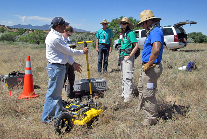 Researchers use ground-penetrating radar at the San Marcos archaeological site, (l to r) Troy Desouza, Emily Snyder, Scott Baldridge, Kimberly Yauk and Boe Derosier.