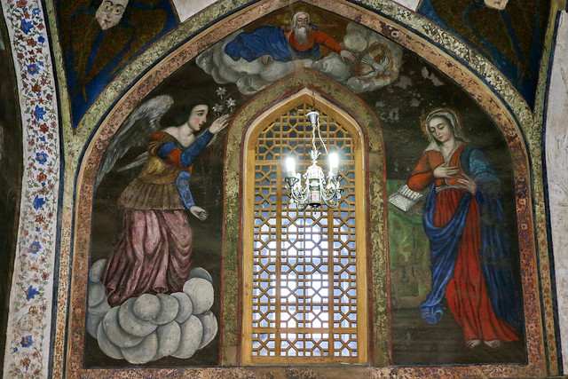 The Annunciation fresco painting in Vank Cathedral, Isfahan, Iran イスファハン、ヴァーンク教会、受胎告知のフレスコ画
