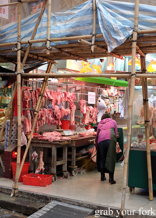 Butcher shop at the Gage Street market, Central district, Hong Kong