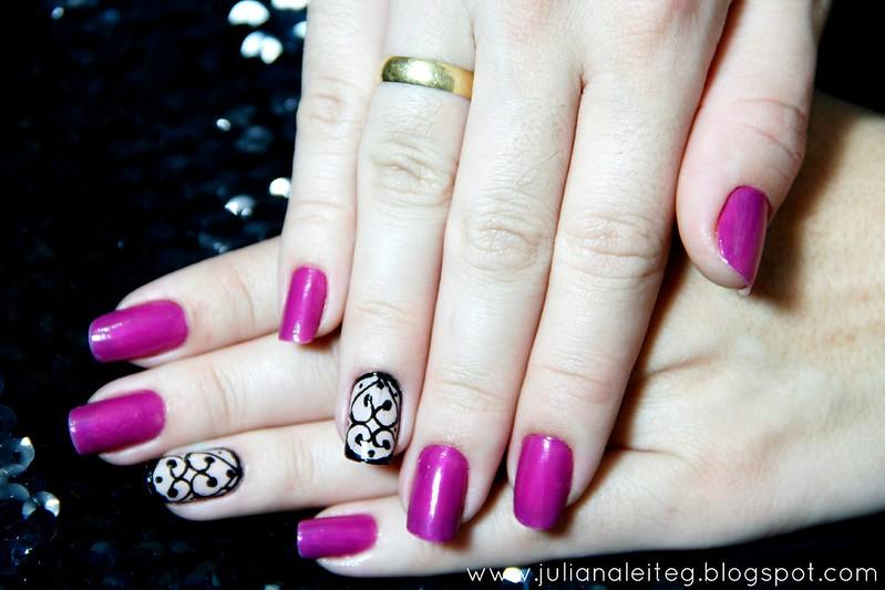 juliana leite unhas da semana unhas feitas violeta risque penelope chamorsa nail art mani arabescos filha única