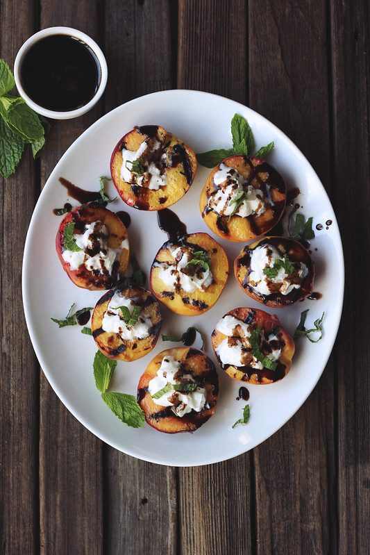 Grilled Peaches with Whipped Coconut Cream, Honey Balsamic Drizzle and Mint
