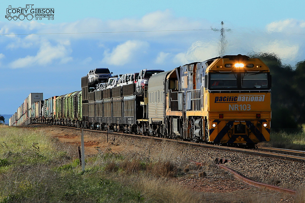 NR103 & NR45 with the 5PM5 heads towards Snowtown by Corey Gibson