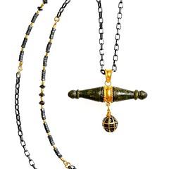 #MariaLightfoot #Jewelry #Necklace  Ancient Bronze Pendant, Black Diamond Ball Drop