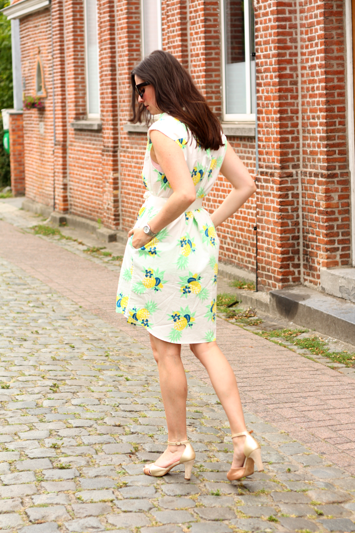 pineapple print dress petit bateau