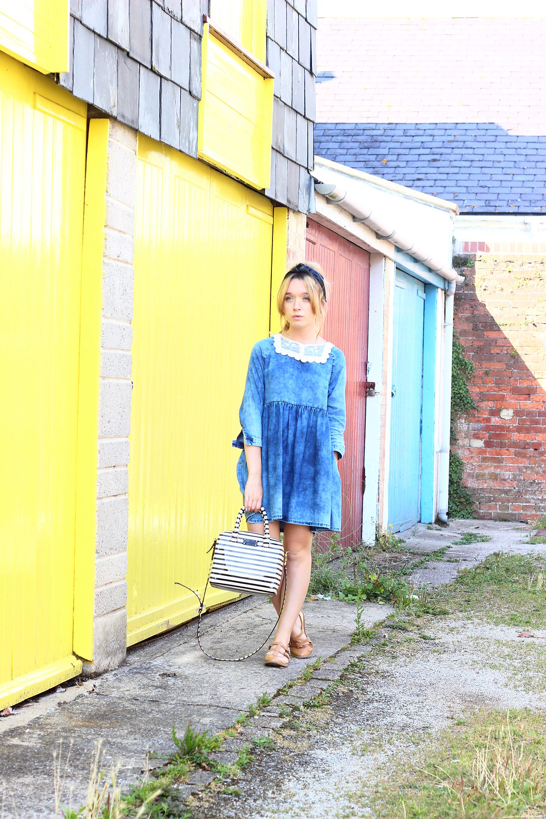 2denim, smock dress, lace collar , diy, vintage style