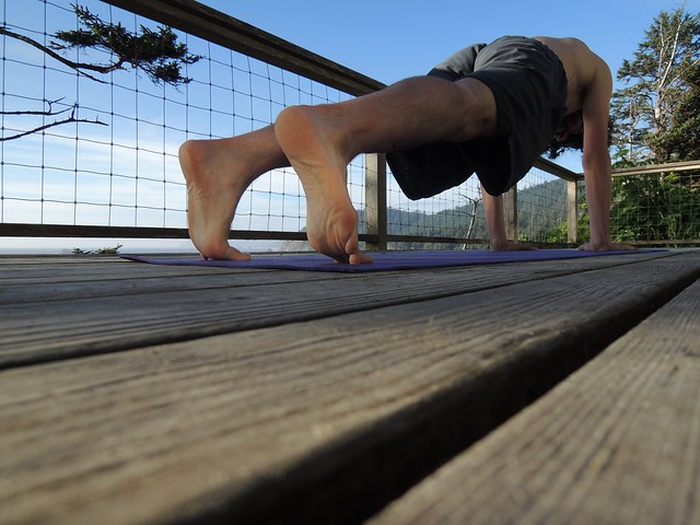 Yoga student in plank posture