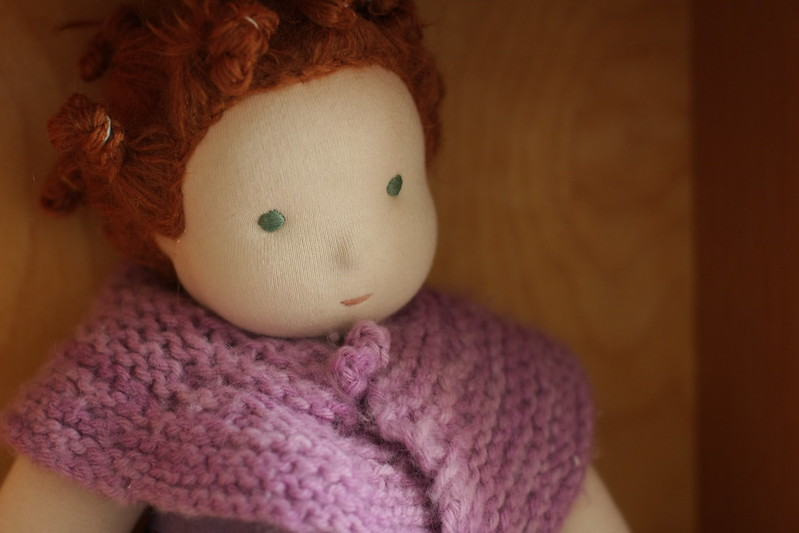 K's knit shawl for her doll (with rag curls)