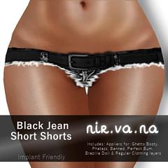 Nir.va.na Black Jean Short Shorts