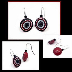 Black & Ruby Red Faceted Earrings