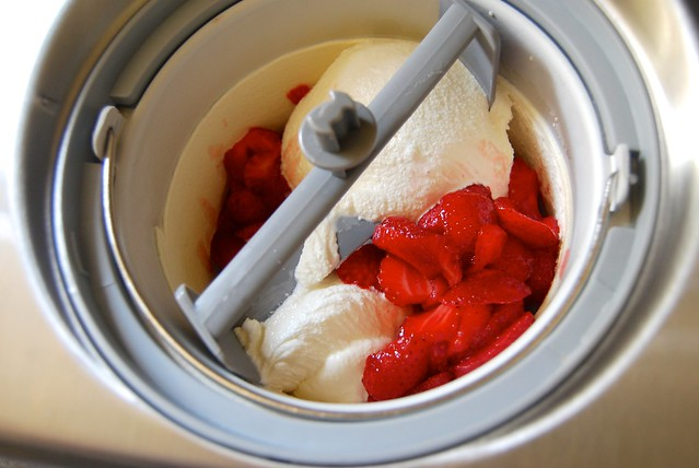 Adding Strawberries to Ice Cream Maker