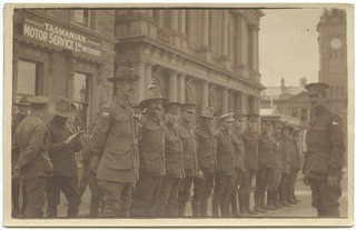 Returned wounded soldiers - Guard of Honour to Mr Hughes outside the 'Dugout', Hobart Tasmania, October 1916