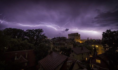 city urban storm night buildings glow view apartment purple flat bright sofia balcony horizon flash bulgaria bolt electricity vista lightning distance българия софия canon7d