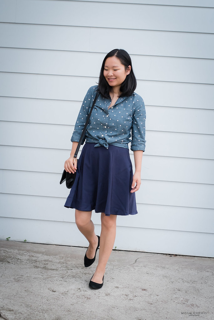 Polka dot chambray shirt navy skirt 04