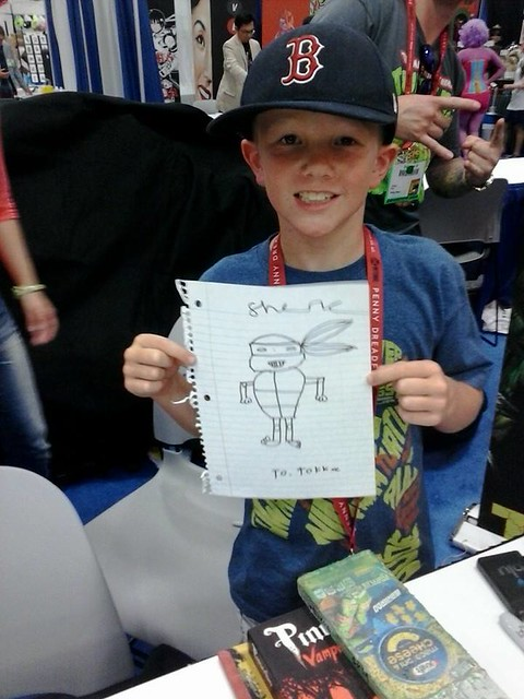 San Diego CHAOS CONUNDRUM 2014 ::  VARNER STUDIOS Booth, SDCC '14; HEAVY METAL BOOTH - Shane creating a Turtle for TOKKA