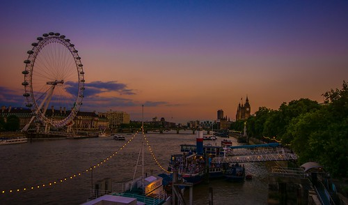 sunset summer london water thames clouds river boat nikon housesofparliament londoneye bigben westminsterbridge hungerfordbridge sigma1020f456 d7100 topazadjust