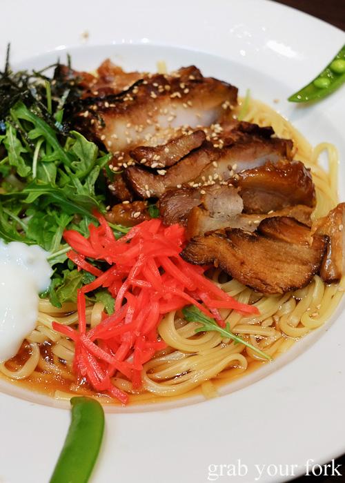 Japanese fatty pork belly on wafu pasta at Pasta Goma, Sydney