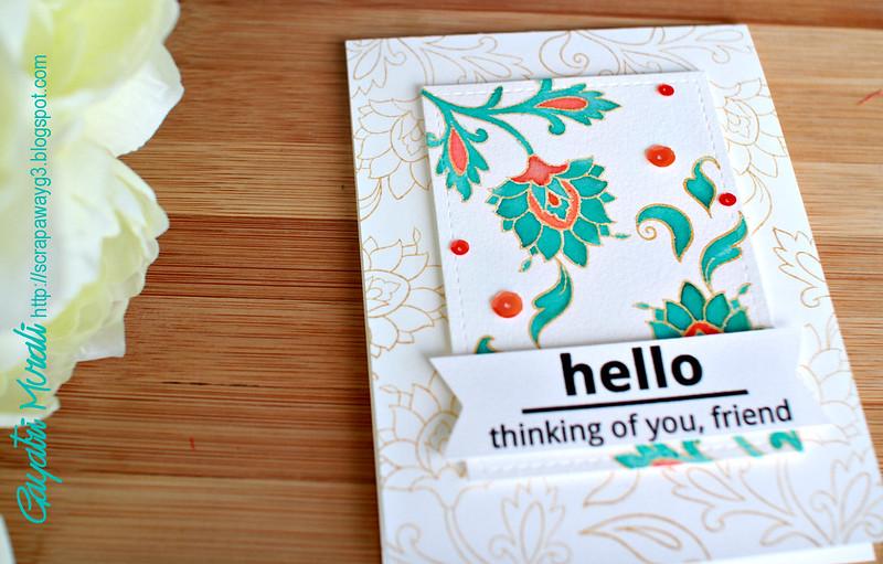 Hello card closeup