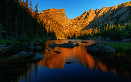 park mountain lake reflection water sunrise dawn colorado mt dream rocky national rmnp hallett