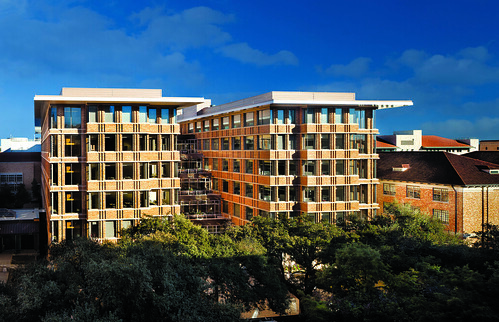 Designed to foster a collaborative environment, the Bill & Melinda Gates Computer Science Complex and Dell Computer Science Hall opened to students in 2013, providing for the first time on campus a central home to the nearly 2,000 undergraduate computer science students. (Photo courtesy of UT Austin)