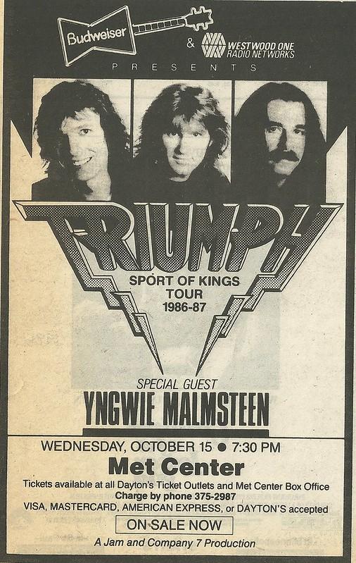 10/15/86 Triumph/ Yngwie Malmsteen @ Met Center, Bloomington, MN