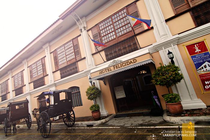 Facade of Hotel Felicidad in Vigan City