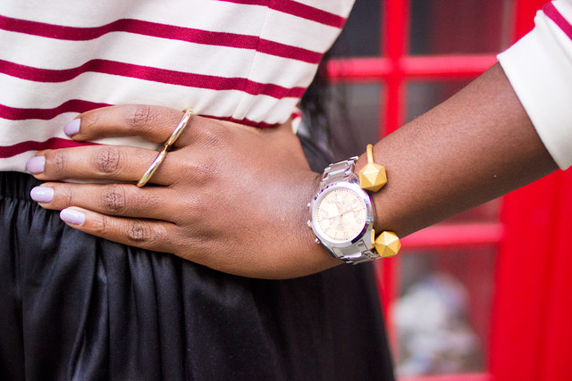 Caravelle watch with double finger ring