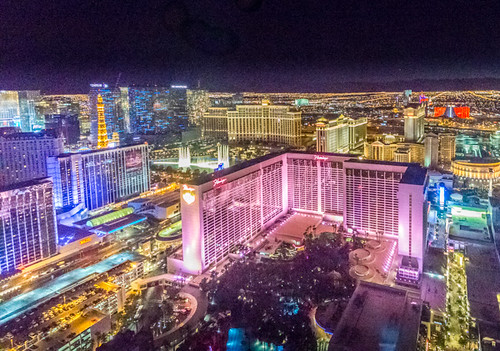 view from the high roller las vegas at night