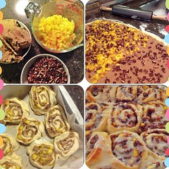 Warm #cinnamon #buns for #breakfast made for the people I love. #baking #peaches #pecans #freshfromtheoven #thethingsyoudoforlove
