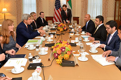 U.S. Secretary of State John Kerry meets with UAE Foreign Minister Abdullah bin Zayed in New York City on September 23, 2104. The Secretary is holding meetings in conjunction with the 69th Session of the United Nations General Assembly. [State Department photo/ Public Domain]