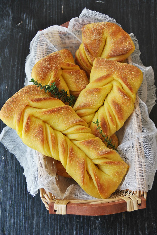 Cornmeal sourdough braids