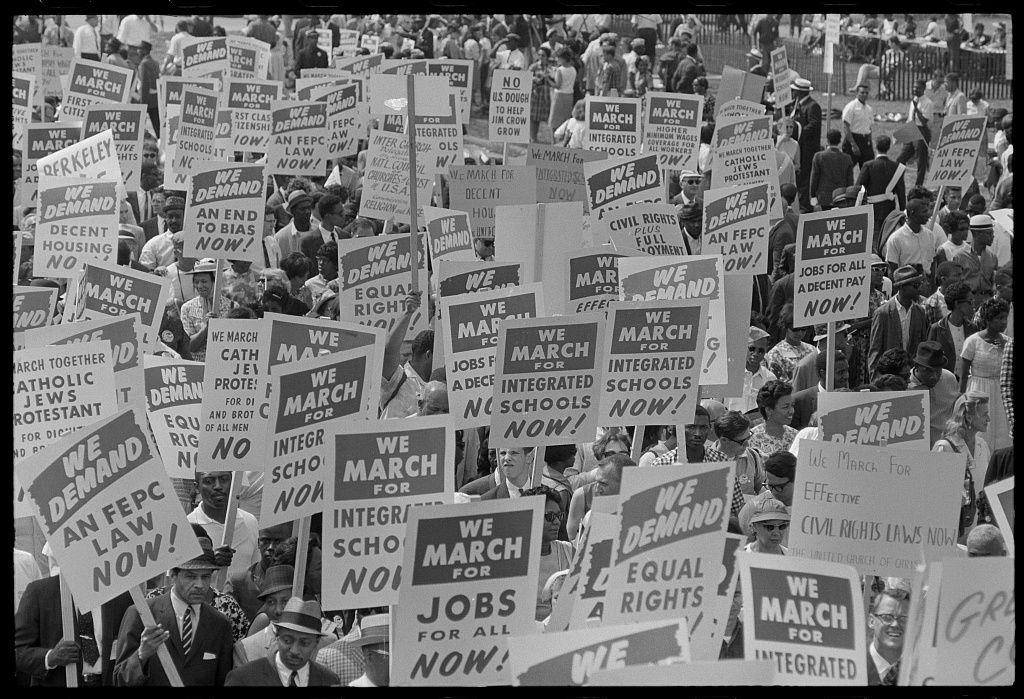 [Signs carried by many marchers, during the March on Washington, 1963] (LOC)