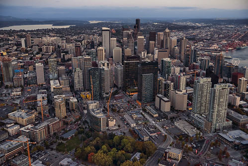 seattle washington cityscape city citycenter citycentre skyline aerial urban landscape pacificnorthwest cbd skyscrapers buildings construction development crane highrise grid downtown view vista density growth denny park commercial realestate towers office space condo condominium 7th 8th seventh eighth avenue neighborhood rooftops