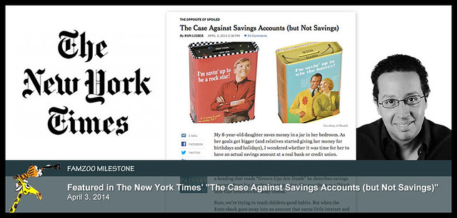 "April 3, 2014: Featured in the New York Times' ""The Case Against Savings Accounts (but Not Savings)"""