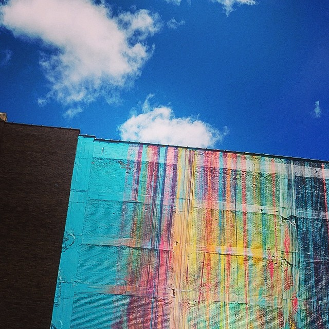 Today the #sky does not look like this in #Detroit #cloudporn #streetart #graffiti #rainbow