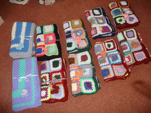 Axa Purls Knitting Group have sent 10 Sunshine Blankets thank you!