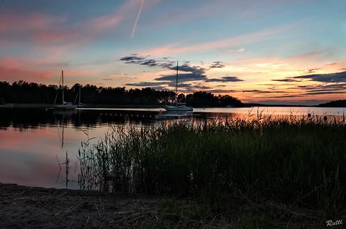 sunset sea sky sweden archipelago djurö