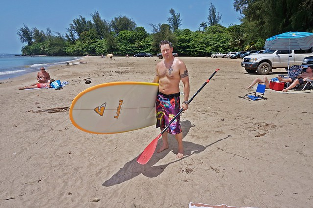 Laird paddleboard in Hanalei Bay
