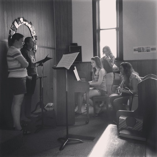 The morning light looks really cool on our musicians while the practice this AM. #mhk #churchmusic