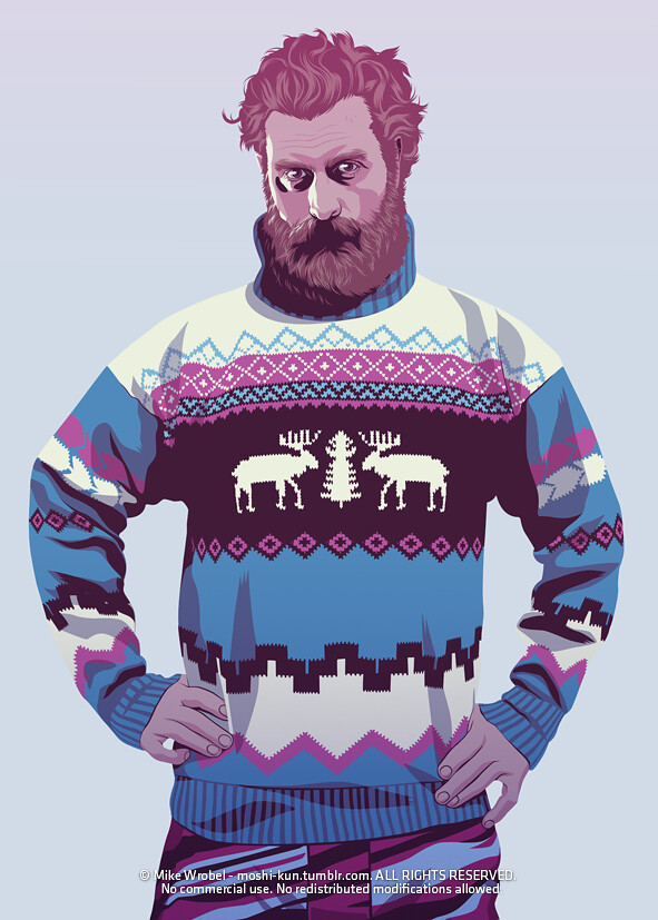 23 Tormund wearing a kitsch xmas sweater and a funky ski pant.