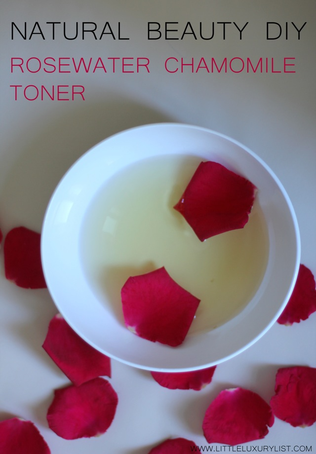 Rosewater chamomile toner top view by little luxury list