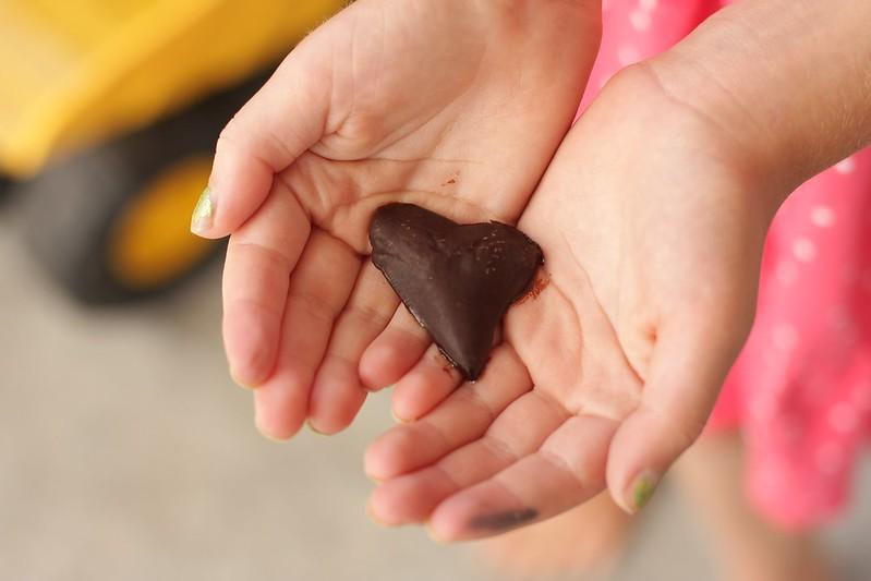 (melting) chocolate shark's tooth