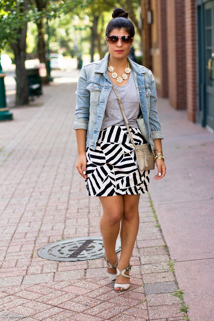 black and white skirt, grey tee, denim jacket-1.jpg