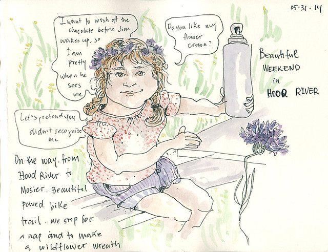 Isabelle with her wild flower wreath