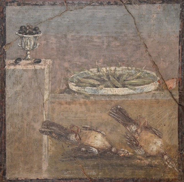 Wall painting of cup with olives, tray with fish and two partridges from the Villa of Diomedes, Pompeii, Naples National Archaeological Museum