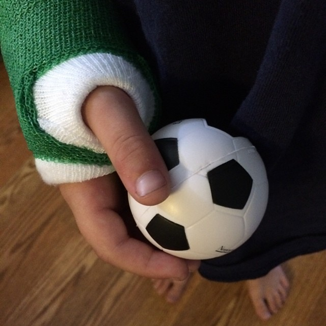Day one of getting Meatball's fingers to work correctly again. Love this squeeze ball from #nemours #mombalance