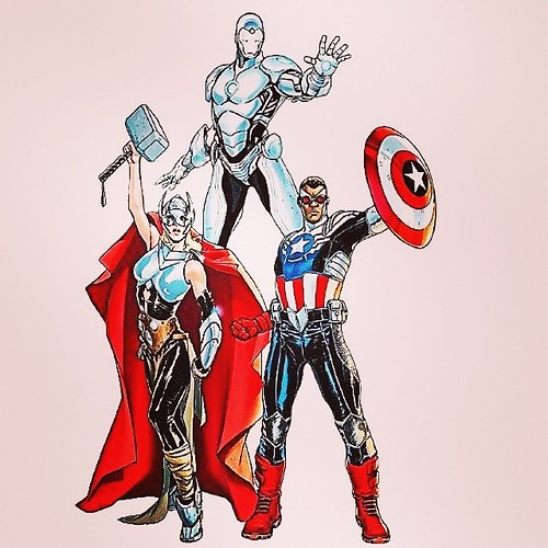 The #Liberal #Democrat Avengers! The New Female Thor, African American Captain America (The former Falcon) & Steve Jobs iOS Iron Man! Lol